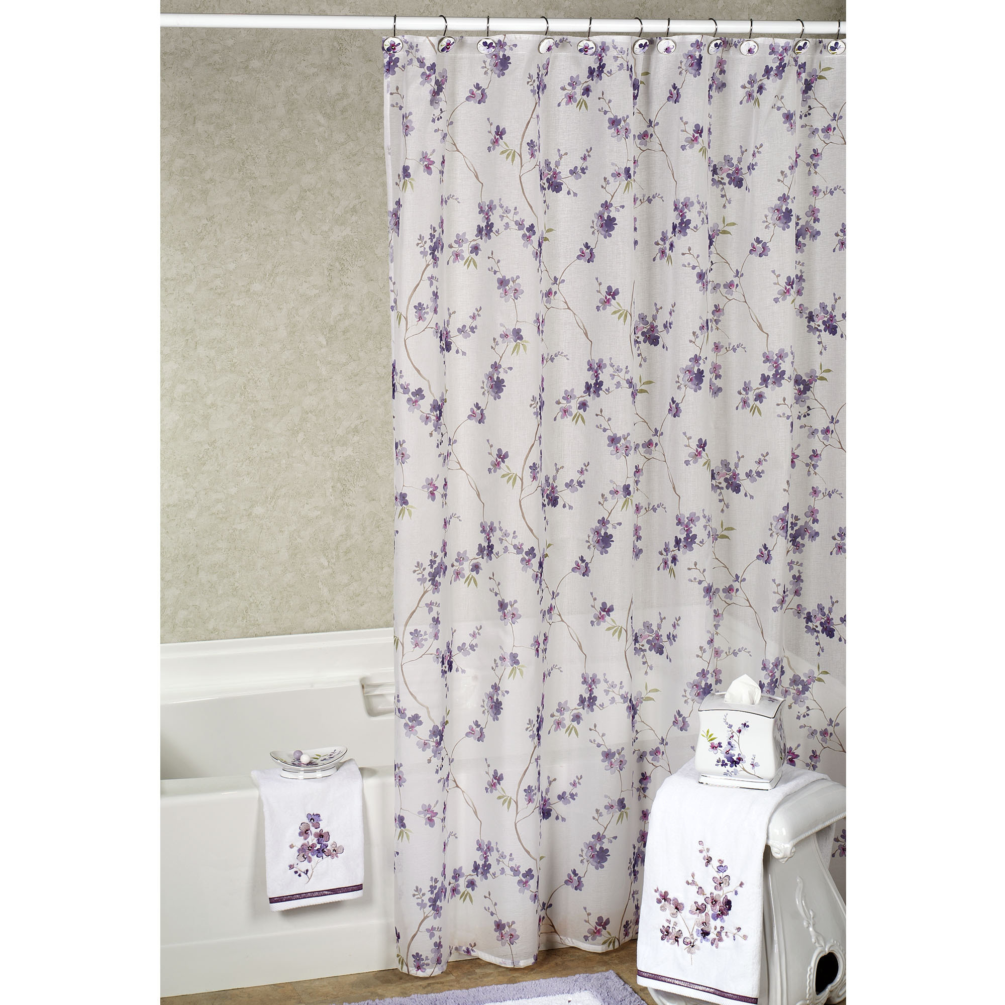 Purple Gray And White Shower Curtain Shower Curtains Ideas