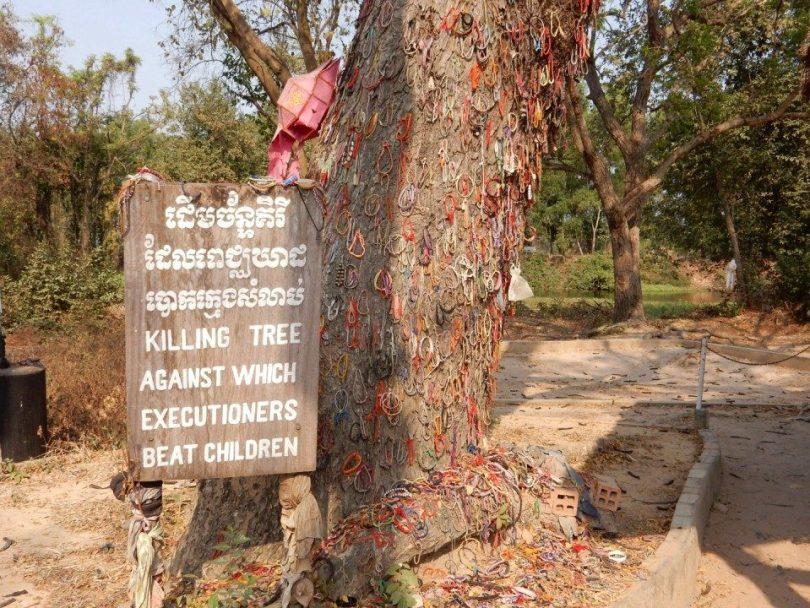 Foto van de boom met armbandjes als steunbetuiging
