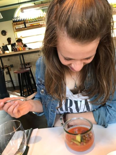 Ik en mijn voorgerecht in het Instock restaurant in Amsterdam