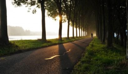 Een fietser in het ochtengloren op de dijk bij het Amsterdams-rijnkanaal