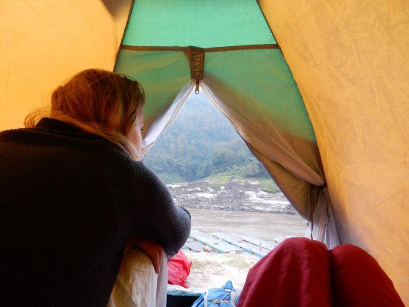 Uitzicht vanuit mijn tent in Laos