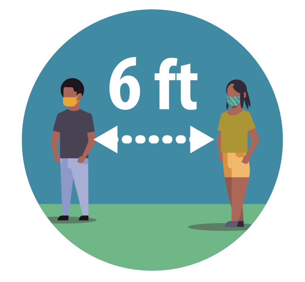 two people standing 6 feet apart maintaining social distance. illustration.