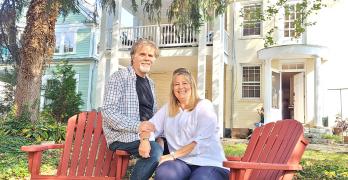 Bryan and Cathy Gray in the rear yard of the Thomas Shepherd Inn.