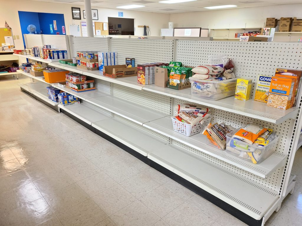 empty shelves at the JCCM food pantry.