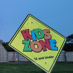 The traditional concession stand and kids playground are staples of the drive-in theater experience.