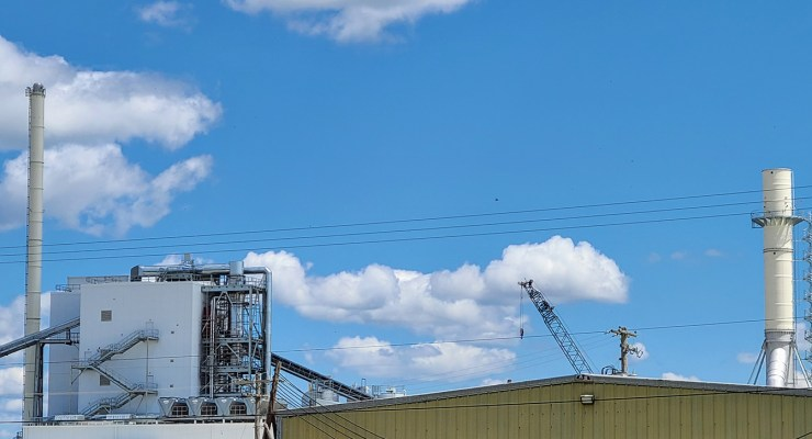 Rockwool facility in Ranson, as viewed from the Black burial ground (Boyd Carter Memorial Cemetery) adjacent to the factory property.