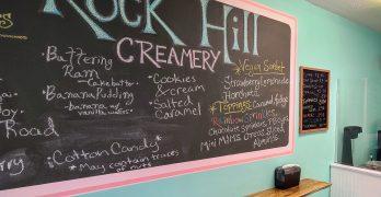 Menu board for the Rock HIll Creamery.