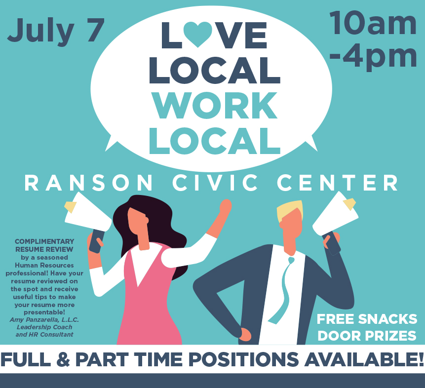 Poster announcing the job fair at the Ranson Civic center on July 7  from 10 am to 4 pm.