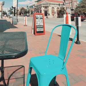 A seating area for curbside dining in Charlestown.