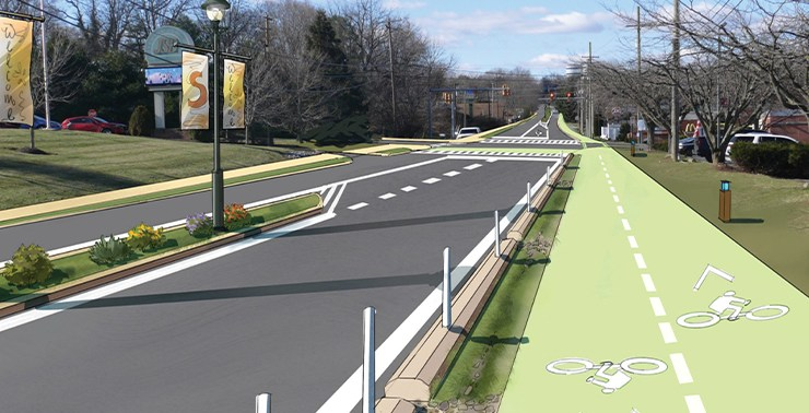 A rendering of WV 45 with bike and pedestrian paths.