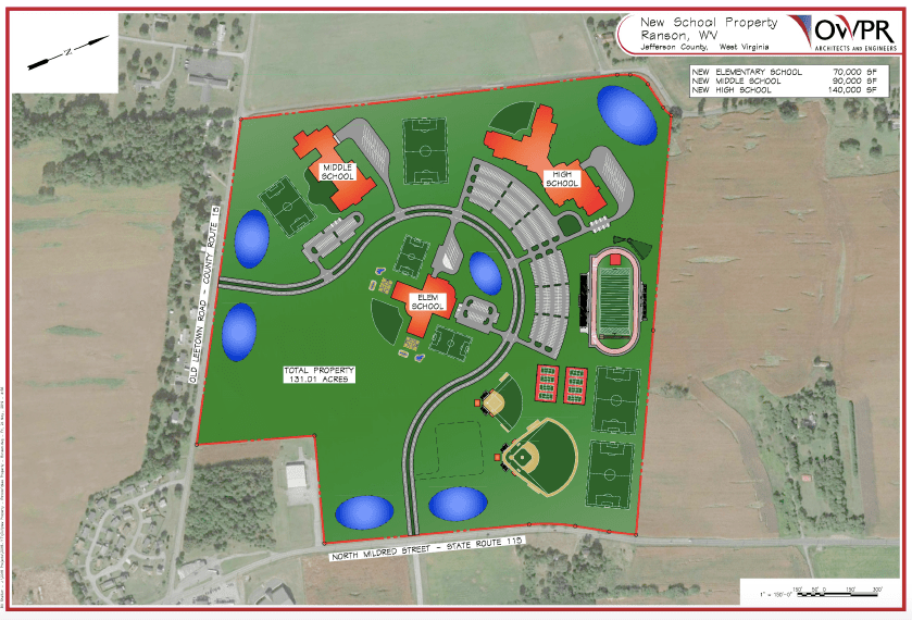 A 2019 concept map for the new Ranson Elementary School that shows how there is room for a high school on the same campus.