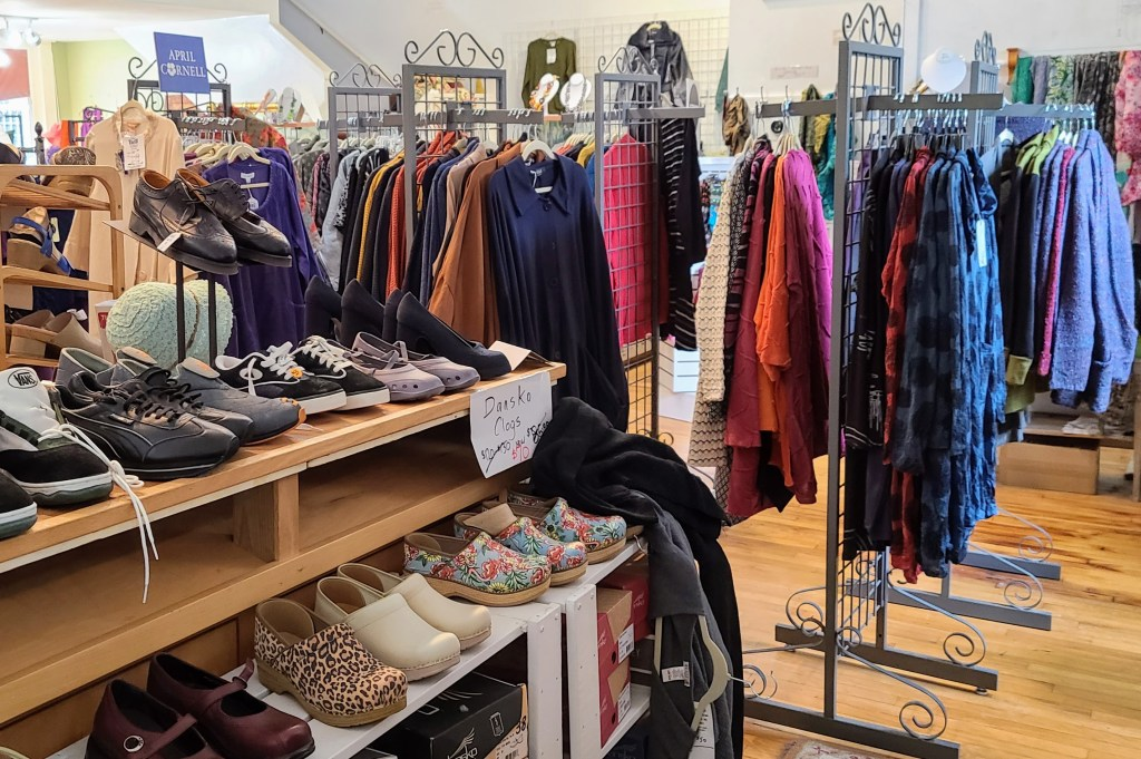 Clothes and unusual shoes in the Good Shop.
