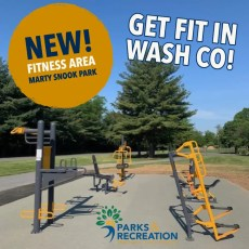 fitness stations at Marty Snook Memorial Park.