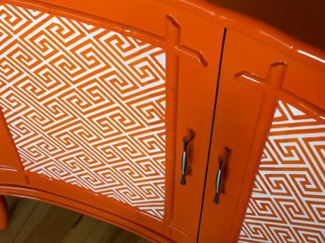 Orange pattern dresser