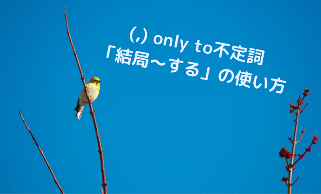 only to不定詞の使い方