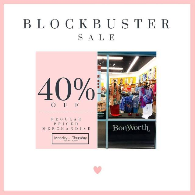 The huge BLOCKBUSTER SALE At BonWorth continues! Mon thru Thurshellip