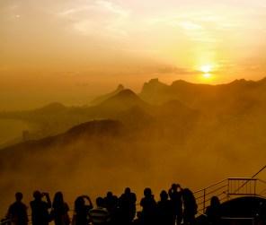 tourists watching sunset