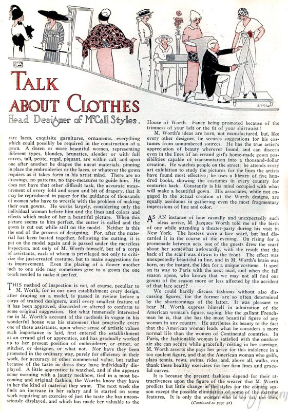 A Talk with Worth About Clothes, 1913
