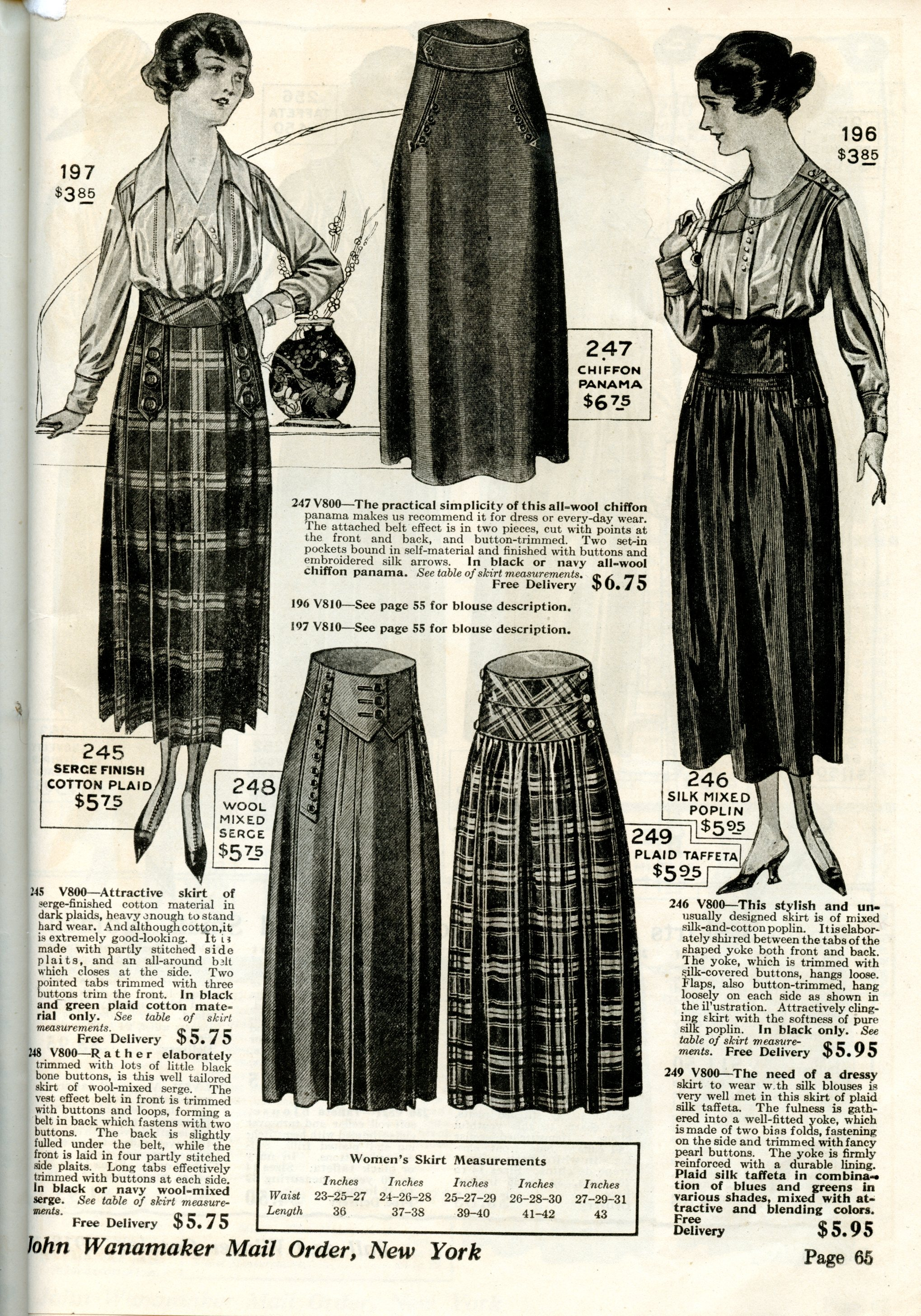 WWI Fashion Skirts And Blouses 1918 1919 Wearing