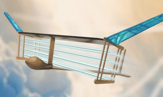Eyrsten vlucht van vleegtüüg sunder beweygende deylen