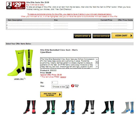 f93ece80bdb Performance Deals Nike Elite Basketball Crew Sock 3 for  29.99  Eastbay