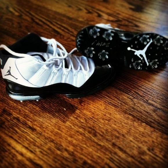 b351ec3ed7ca03 Keegan Bradley s Air Jordan 11  Concord  Golf Shoes - Quick Look ...
