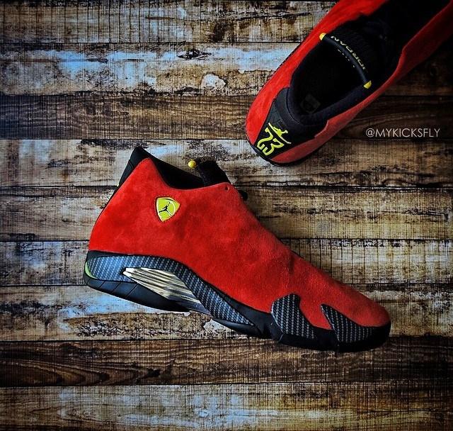 32a1614cf4d2 Air Jordan 14 Retro  Ferrari  - Detailed Look   Review with ...
