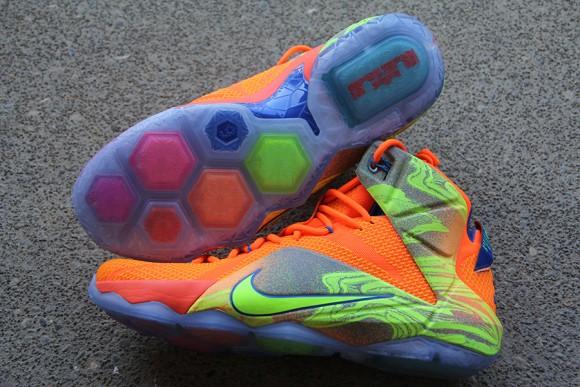 sale retailer 8311e d5751 ... Nike LeBron 12 Orange  Volt - Detailed Look 6 ...