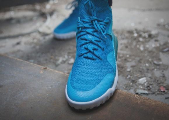 adidas Tubular X Primeknit 'Cyan' on feet toe