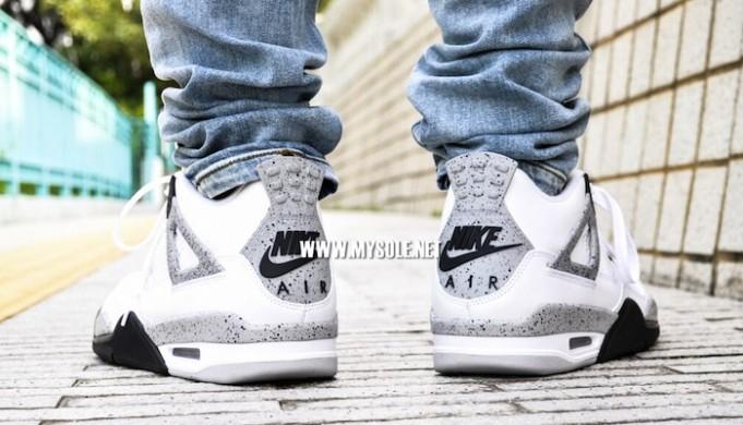 c51b53419d07d6 Air Jordan 4 Retro  White Cement  on feet nike air - WearTesters