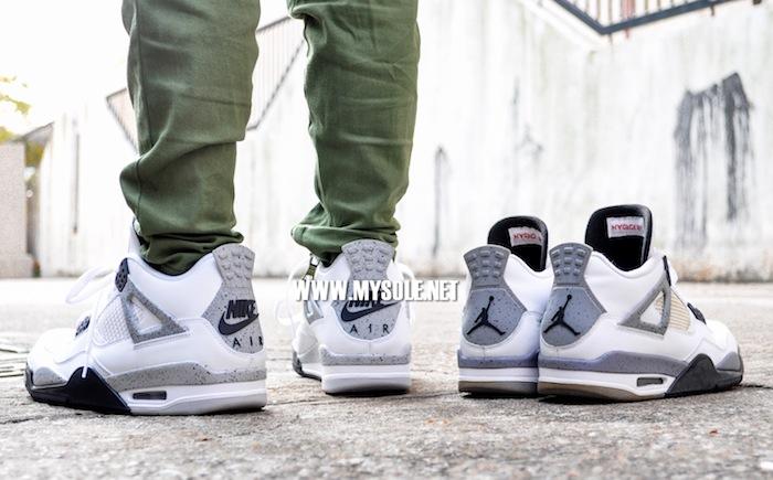 f75d39f6683ed8 comparison 2016 Air Jordan 4 Retro  White Cement  - WearTesters