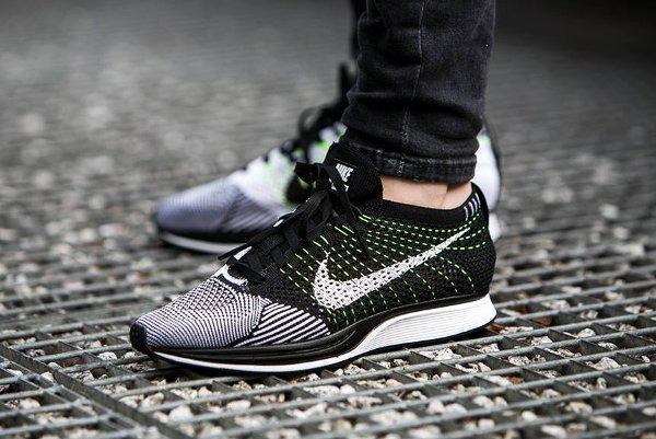 Nike Flyknit Racer black white volt on feet - WearTesters b150be2df