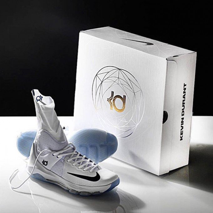 4ab2d8130ee You Can Now Lace Up the Nike KD 8 Elite in White  Photo Blue ...
