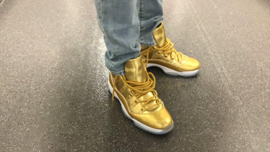 3d39ba713c8 Kawhi Leonard Rocks His All-Gold Air Jordan 11's - WearTesters