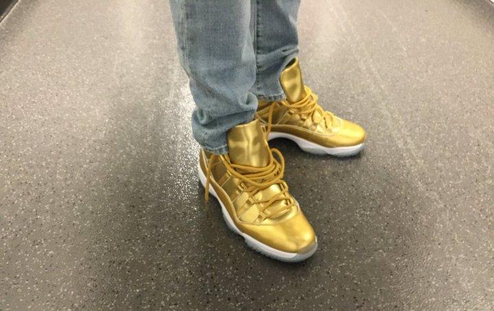 750a714e7e8 Kawhi Leonard Rocks His All-Gold Air Jordan 11 s - WearTesters