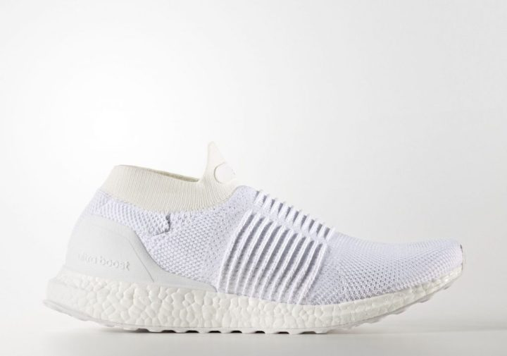 1c006da35f6 The triple white laceless UltraBoost features an entirely Primeknit upper  with strategic panel stitching along the midfoot. This is probably done to  give ...