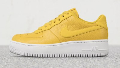 NIKE AIR FORCE 1 UPSTEP PREMIUM LOW BREAD & BUTTER YELLOW 1