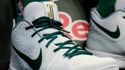 new style 0919c 75254 Rookie Jayson Tatum Rocked a Nike Kyrie 3 PE with His Own Logo Last Night