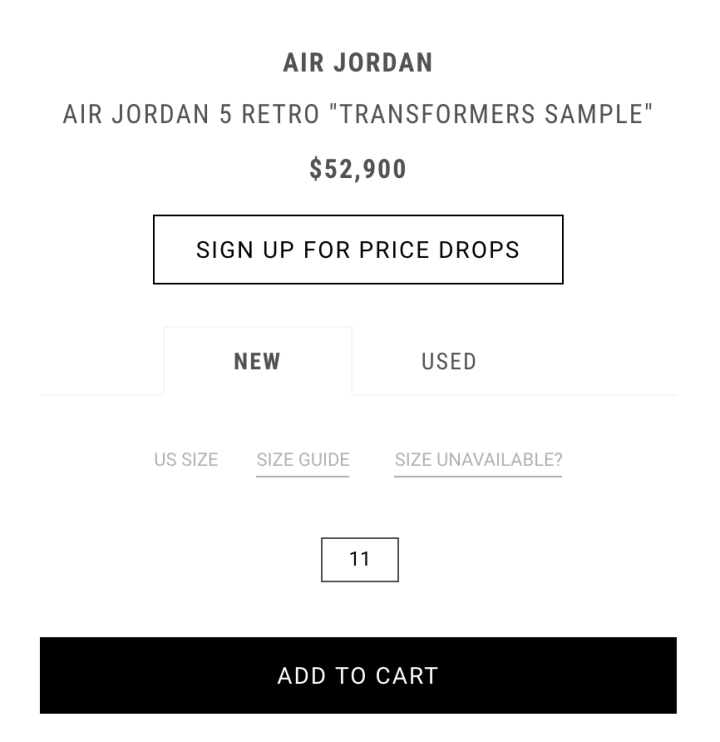 8a077098dc1a Mark Wahlberg s Air Jordan 5  Transformers  Sample is Listed for an ...
