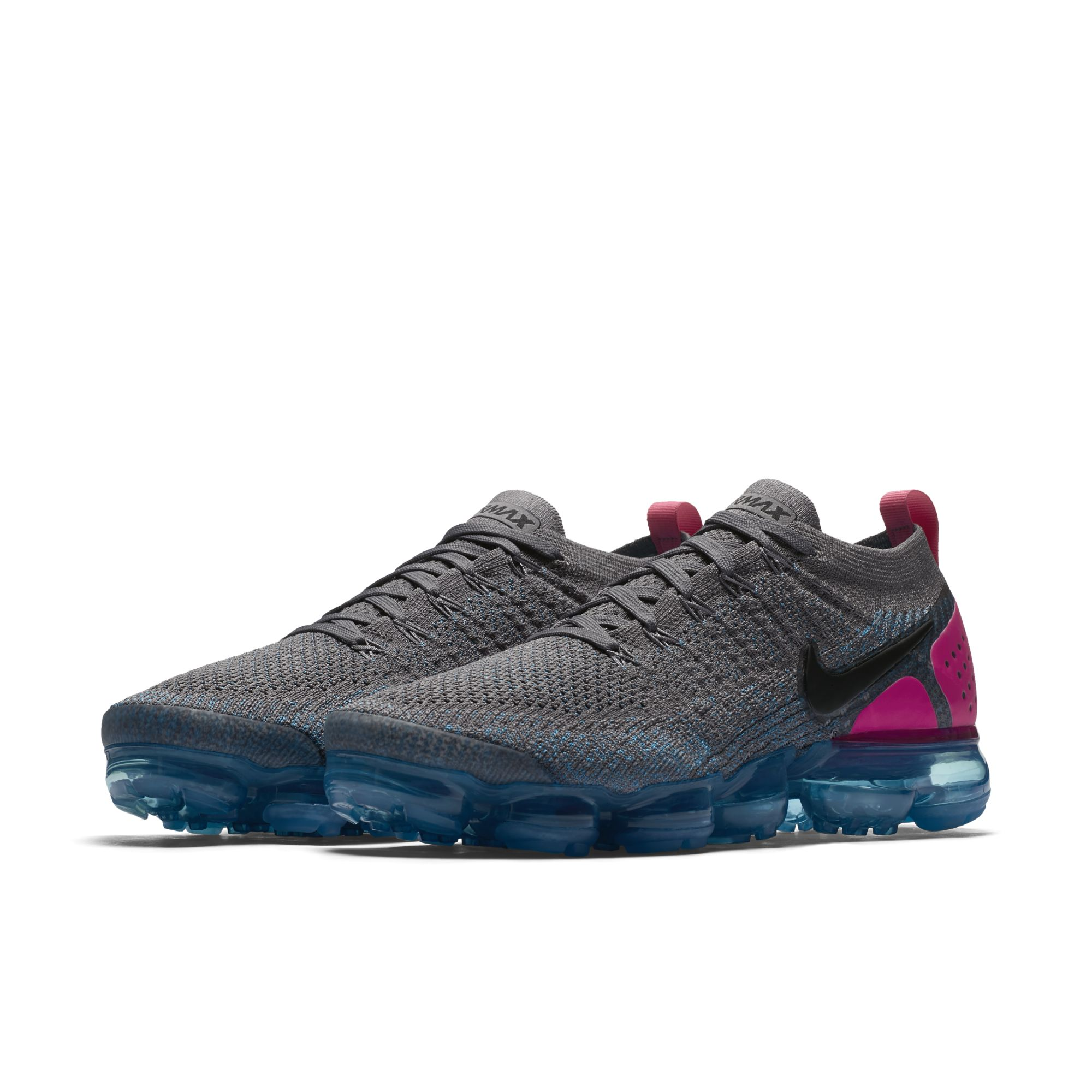 03d2a9691357 NIKE AIR VAPORMAX FLYKNIT 2 GUNSMOKE BLACK-BLUE ORBIT-PINK BLAST-BLUE  FURY-GLACIER BLUE 1