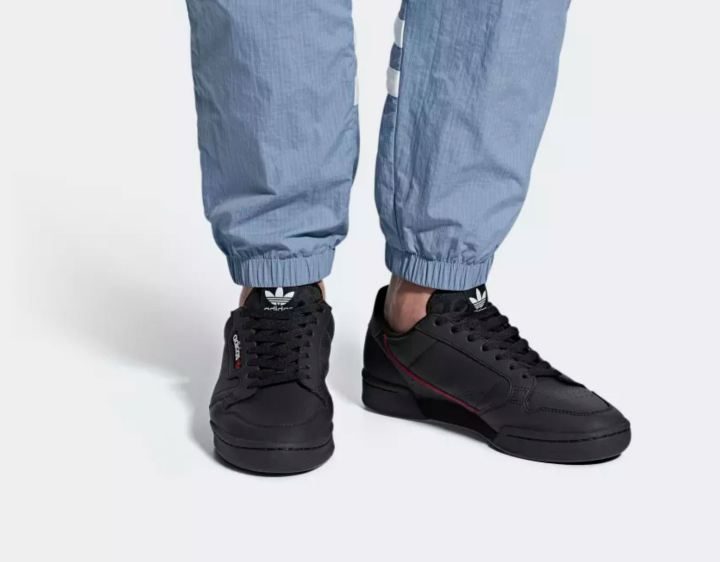 adidas continental 80 black on foot