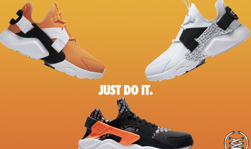 huge discount 595ec f5787 Three Nike Air Huarache  Just Do It  Silhouettes are Dropping in ...
