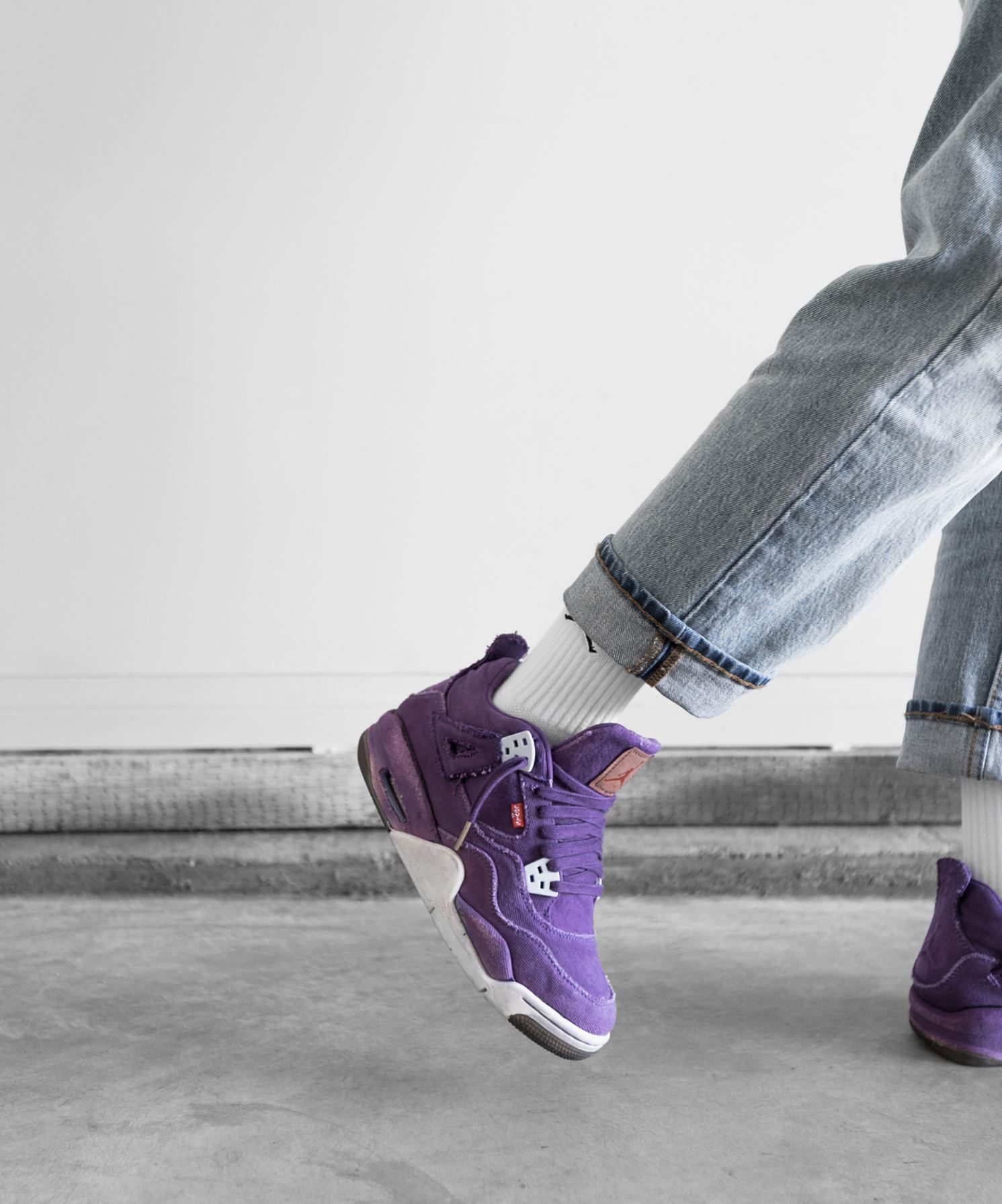 5ae21864c2d ... levis air jordan 4 purple custom - WearTesters ...