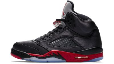 air jordan 5 satin black university red release date