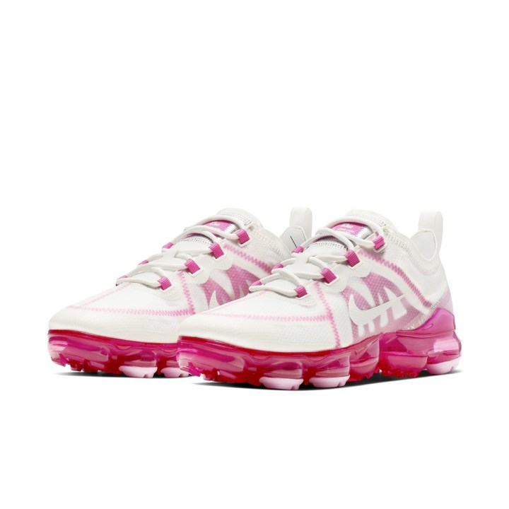 NIKE AIR VAPORMAX 2019 SUMMIT WHITE:SUMMIT WHITE-LASER FUCHSIA-PINK RISE 1