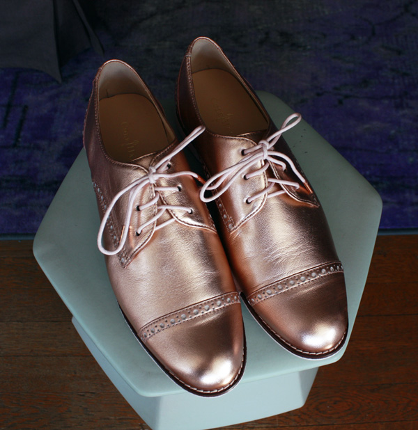 Cole Haan Rose Gold Oxfords