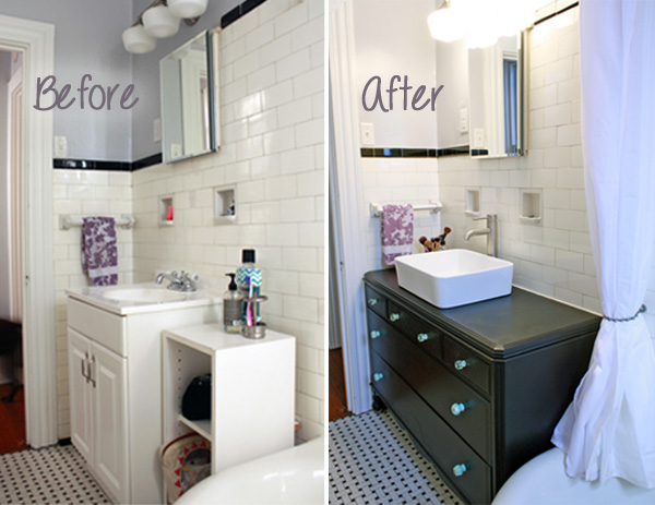 Vintage Dresser Turned Bathroom Vanity Makeover