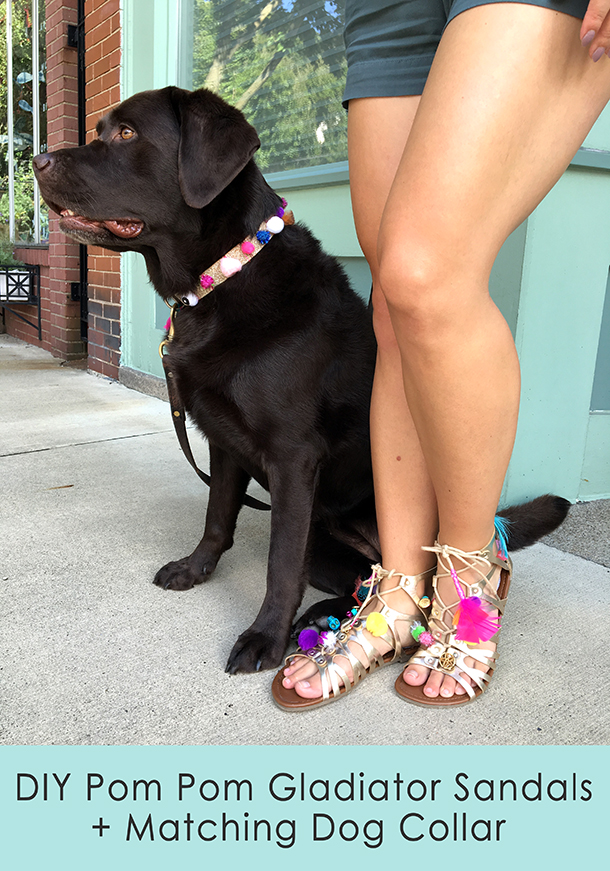 DIY Pom Pom Gladiator Sandals + Matching Dog Collar