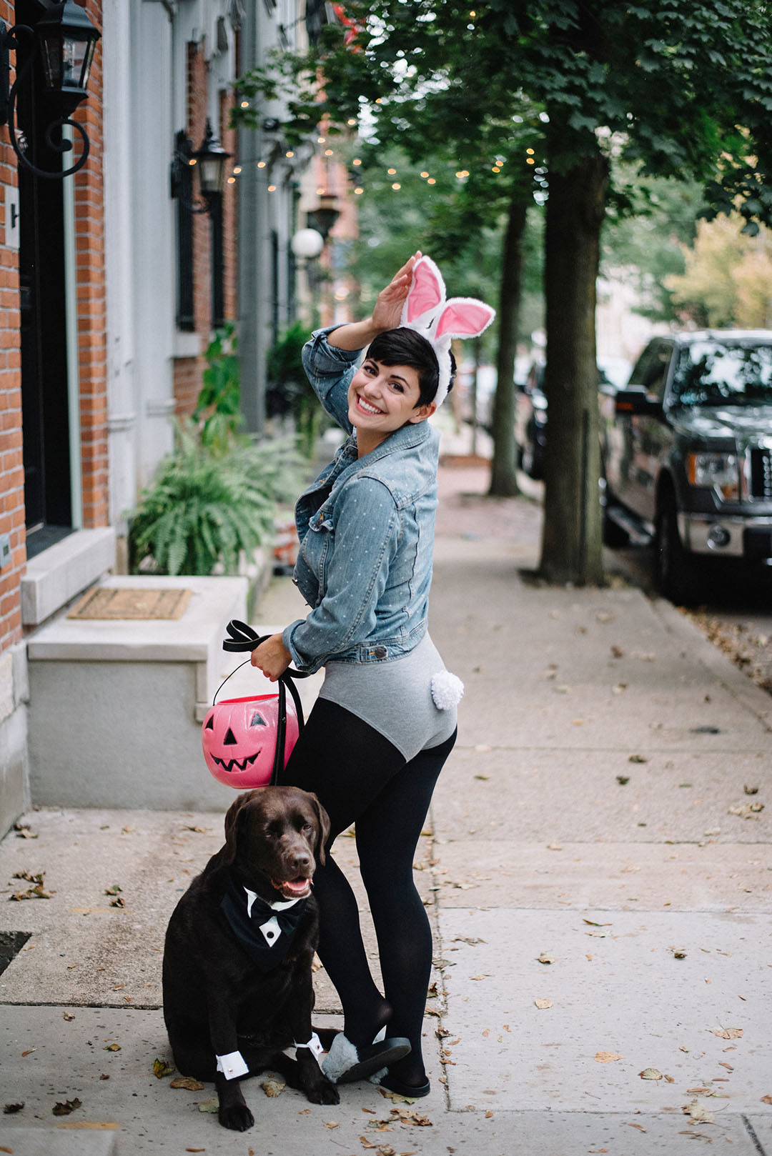 Halloween Couples Costume With Your Dog: Magician and Rabbit