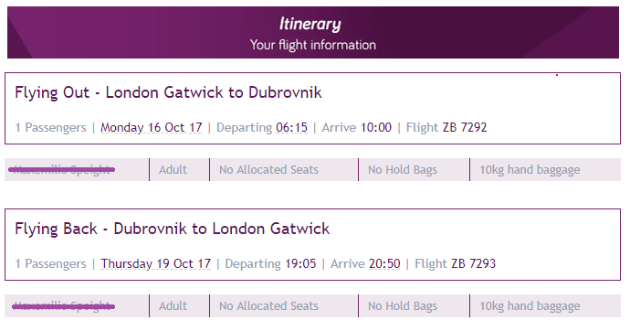 Flight Itinerary for solo trip to Dubrovnik, Croatia